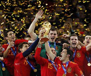 La selección española de fútbol celebrando la victoria del Mundial de 2010